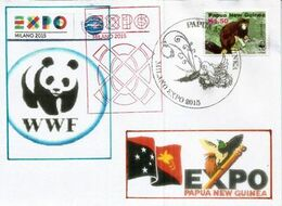 Timbre WWF Kangourou Arboricole (DENDROLAGUE) Danger Critique D'extinction, Sur Lettre Du Pavillon Papouasie Expo Milano - Papua Nuova Guinea