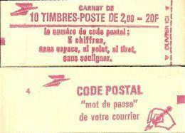 """CARNET 2274-C 2a Liberté De Delacroix """"CODE POSTAL"""", Fermé Bas Prix Parfait état TRES TRES RARE - Definitives"""