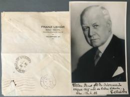 """Autographe De 1938 Sur Photo De FRANZ LEHAR, Compositeur De """"La Veuve Joyeuse"""" - (W1250) - Autógrafos"""