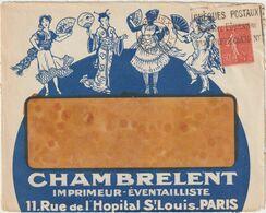 ESC Illustrée Recto Verso Imprimerie/éventails Chambrelent 50c Semeuse OMEC Paris 1927 - 1921-1960: Modern Period