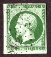 """Napoléon III N°12 Vert Foncé - Oblitération Ambulant Losange Romaines """"SM2"""" - 1853-1860 Napoléon III."""