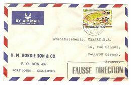 LETTRE NOVEMBRE 1988 BORDIE SON & CO PORT LOUIS MAURITIUS MAURICE POUR CERNAY FRANCE CACHET FAUSSE DIRECTION - 2 Scans - - Mauritius (1968-...)