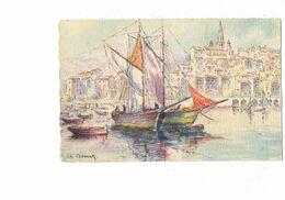 Cpa - MENTON -- Illustrateur Ch.Cermak -- Le Port (voilier) - Barré Dayez 3003 A - Menton