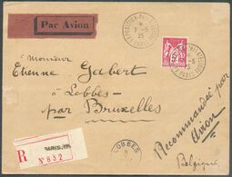 N°216 - 5Fr. SAGE Obl. Sc PARIS EXPOSITION PHILATELIQUE S/L. Recommandée Et Par Avion (Etiq.) Du 7-5-1925 Vers Lobbes (B - 1898-1900 Sage (Type III)