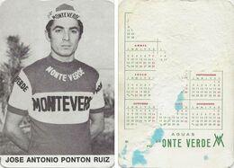 CARTE CYCLISME JOSE ANTONIO PONTON TEAM MONTEVERDE 1973 FORMAT 7 X 10,2 ( PARTIE ARRIERE DETERIORÉE, VOIR PHOTO ) - Radsport