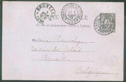 E.P. 10 Centimes SAGE Obl. Dc EXPOSITION UNIVERSELLES * 1889 Du 7 Août 1889 Vers Bruxelles (Belgique).(léger Pli) - 1601 - Cartoline Postali E Su Commissione Privata TSC (ante 1995)