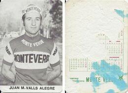 CARTE CYCLISME JUAN M. VALLS TEAM MONTEVERDE 1973 FORMAT 7 X 10,2 ( PARTIE ARRIERE DETERIORÉE, VOIR PHOTO ) - Radsport