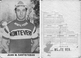 CARTE CYCLISME JUAN MANUEL SANTISTEBAN TEAM MONTEVERDE 1973 FORMAT 7 X 10,2 ( PARTIE ARRIERE DETERIORÉE, VOIR PHOTO ) - Radsport