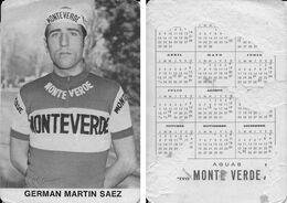 CARTE CYCLISME GERMAN MARTIN TEAM MONTEVERDE 1973 FORMAT 7 X 10,2 ( PARTIE ARRIERE DETERIORÉE, VOIR PHOTO ) - Radsport