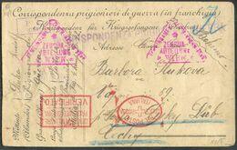 Carte Postale Correspondance De Guerre Exp. De PADULA Vers Tchecoslovaquie + Diverses Censures Dont Croix-rouge Italienn - Briefe U. Dokumente