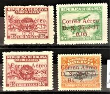 BOLIVIA 1937 - MLH - Sc# C52, C53, C54, C56 - Air Mail - Bolivien