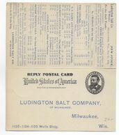 1904 - CARTE ENTIER POSTAL Avec REPONSE PAYEE Avec REPIQUAGE PRIVE DE MILWAUKEE => DALTON - 1901-20