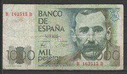 ESPAÑA BILLETE DE 1000 Pts. USADO CON DOBLES  (C.B.) - [ 4] 1975-… : Juan Carlos I