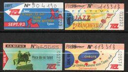 """Transports En Commun Lyonnais. TCL. Lot De 4 Tickets """"Pass Partout"""" Années 1993, 97, 98. - Non Classificati"""