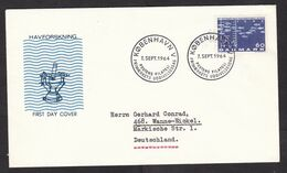 Denmark: FDC First Day Cover To Germany, 1964, 1 Stamp, ICES, Council Exploration Sea, Oceanography (traces Of Use) - Lettere