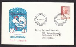 Denmark: FDC First Day Cover To Germany, 1965, 1 Stamp, Carl Nielsen, Chicken Dance, Music (small Stain At Back) - Lettere
