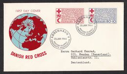 Denmark: FDC First Day Cover To Germany, 1966, 2 Stamps, Red Cross, Red Crescent, Globe, Map, Aid (traces Of Use) - Lettere