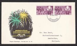 Denmark: FDC First Day Cover To Netherlands, 1962, 2 Stamps, Tivoli, Luna Park, Fireworks, Music (traces Of Use) - Lettere