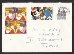 Denmark: Cover To Germany, 1988, 1 Stamp, Church, 6x Cinderella Label, Christmas, Angel (damaged: Roughly Opened) - Danimarca