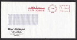 Denmark: Cover, 1984, Meter Cancel, Liner Agents, Shipping, Ship, Transport (minor Discolouring) - Danimarca