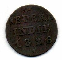 INDONESIA - ISLAND OF SUMATRA - KINGDOM OF THE NETHERLANDS, 1/4 Stuiver, Copper, Year 1826, KM #287 - Indonésie