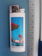 Briquet Publicitaire Usagé - Brio Flamagas - Transat Sur Plage - Autres