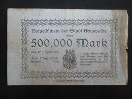VP BON DE NéCESSITé / NOTGELD (V07) DEUTSCHLAND ( 2 Vues) ARNSWALDE - 500,000 Mark 10/08/1923 - Monetary /of Necessity