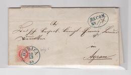 CROATIA  ¸AUSTRIA DUBICA 1868 Registered Cover, Back Stamp Missing - Kroatië