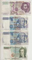 REF 1  : Lot 5 Billets Italie Italia 50000 Lires 1992 2 10000 Lires 1984 1 5000 Lires 1985 1 2000 Lires 1990 - [ 2] 1946-… : Republiek