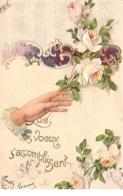 Fantaisie - N°66750 - Que Vos Voeux S'accomplissent - Main Près D'un Rosier - Carte Gaufrée - Other