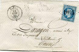 FRANCE LETTRE AFFRANCHIE AVEC LE N°29A OBL. GC 1045 DEPART CLECY 21 NOV 68 POUR LA FRANCE - 1849-1876: Classic Period