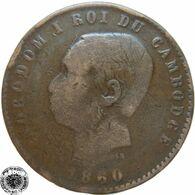 LaZooRo: Cambodia 10 Centimes 1860 F - Cambogia