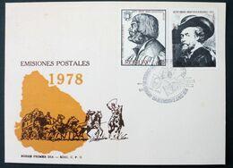 1978 URUGUAY FDC Special Postmark - Painting Tableau Gravure Autoportrait Portrait Rubens Durer Durero -Yv 999/0 - Uruguay