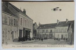 CPA 37 Sepmes Animé Bourrellerie Personages Avion Route Départementale De Sainte Maure Grandes Manoeuvres 1912 - Altri Comuni