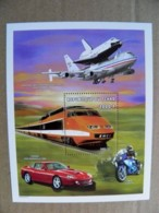SALE! MNH Mint M/s Chad Tchad 1997 Transport Train Railway Car Auto Motorcycle Airplanes Airships Ferrari Bmw Nasa Usa - Tchad (1960-...)
