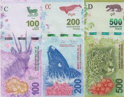 ARGENTINA Set 3v 100 200 500 Pesos ND (2016 - 2018) P New 364 365 UNC - Argentina