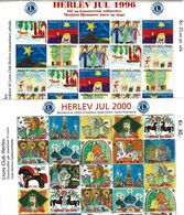 Denmark; Lions Club.  Local Christmas Seals Herlev 1996 & 2000, 2 Full Sheets, MNH (**) Not Folded - Rotary, Lions Club