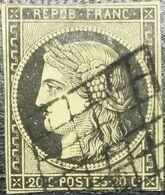 FRANCE Y&T N°3 Cérès 20c Noir Sur Jaune Oblitéré Grille - 1849-1850 Ceres