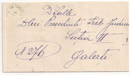 Romania Stampless Letter From PLASA PRUTU(Jud. Covurlui)  To GALATI, A Rare Customized Plasa Prutu Postmark! - 1858-1880 Moldavia & Principality
