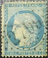 FRANCE Y&T N°37 Cérès 20c Bleu Oblitéré Losange GC N°2709 Talmay - 1870 Beleg Van Parijs