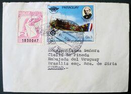1980 Paraguay Circulated Cover - Aircraft Aviation Avion Plane - Label Pro-cartero Facteur Postman Briefträger - Paraguay