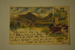 Suisse Grisons Pontresina Carte Precurseur Illustrateur Signee Giacometti ( En Dessous Des Chalets A Droite ) - GR Graubünden