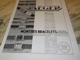 ANCIENNE PUBLICITE  MONTRES  BRACELETS  JAEGER LECOULTRE  1934 - Juwelen & Horloges
