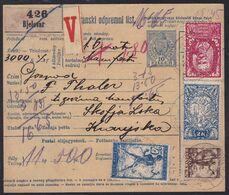 Croatia SHS, Bjelovar, Parcel Card, Mixed Franking With Chainbreakers, Sent To Škofja Loka, December 1919 - 1919-1929 Kingdom Of Serbs, Croats And Slovenes