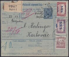 Croatia SHS, Zagreb, Parcel Card, Mixed Franking With Hungary, Sent To Karlovac, January 1919 - 1919-1929 Kingdom Of Serbs, Croats And Slovenes