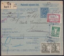 Croatia SHS, Zagreb, Parcel Card, Creased In The Middle, Mixed Franking With Hungary, February 1919 - 1919-1929 Kingdom Of Serbs, Croats And Slovenes
