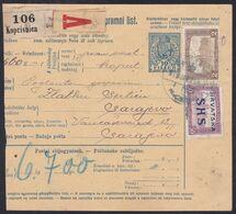 Croatia SHS, Koprivnica, Parcel Card, Mixed Franking With Hungary, Sent To Sarajevo, January 1919 - 1919-1929 Kingdom Of Serbs, Croats And Slovenes