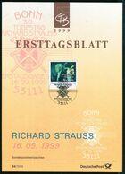 BRD - 1999 ETB 34/1999 - Mi 2076 - 300Pf  Richard Strauss - FDC: Hojas