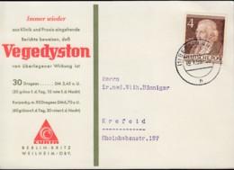 BERLIN 91 EF Carl Friedrich Zelter, Auf Reklame-Drucksache Der Fa. CURTA, Mit Stempel: Berlin-Britz 19.1.1953 - Briefe U. Dokumente