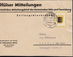BRD 212 EF, Auf Briefausschnitt Zeitungsdrucksache Mit Stempel: Hüls 4.7.1955 - BRD